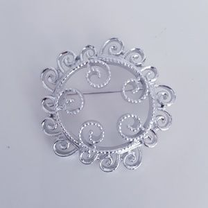 Silver Scroll Sun Brooch